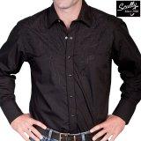 スカリー スナップフロント 刺繍 ウエスタン シャツ(長袖/ブラック・フロント&バック刺繍)/Scully Long Sleeve Embroidered Snap Front Shirt(Men's)