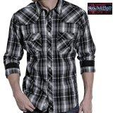 ロックンロール カウボーイ ウエスタンシャツ ブラック・グレー(長袖)/Panhandle Slim Long Sleeve Western Shirt