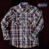 ロックンロール カウボーイ ウエスタンシャツ ブラウン・ブルー(長袖)/Panhandle Slim Long Sleeve Western Shirt