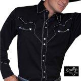 スカリー ウエスタン シャツ(長袖/ブラック・ホワイトキャンディケインパイピング)/Scully Long Sleeve Western Shirt(Men's)