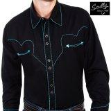 スカリー ウエスタン シャツ(長袖/ブラック・ターコイズキャンディケインパイピング)/Scully Long Sleeve Western Shirt(Men's)