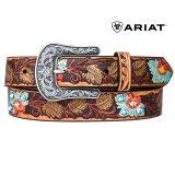 アリアット ラインストーン フラワー ウエスタン ベルト(ブラウン)/Ariat Rhinestone Leather Belt(Brown)