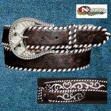 ノコナ ラインストーンバックル・ウィップステッチ&刺繍 ウエスタン ベルト(ブラウン・シルバー)/Nocona Whip-Stiched Embroidered Belt