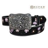 ローパー フラワー・ラインストーン ウエスタン レザー ベルト(ブラック)/Roper Western Leather Belt(Black)