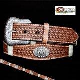 ノコナ スターコンチョ ウエスタン レザー ベルト(ブラウン)/Nocona Western Leather Belt(Brown)