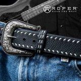 ローパー ウエスタン レザーベルト(ブラック)/Roper Western Leather Belt(Black)