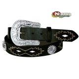 ノコナ ラインストーンバックル&コンチョ ウエスタン レザー ベルト(ブラック)/Nocona Western Leather Belt(Black)