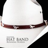 ハット バンド ランニング ホース(ブラウン)/Hat Band Leather w/Running Horses(Brown)