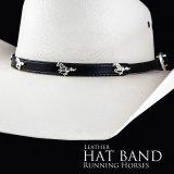 ハット バンド ランニング ホース(ブラック)/Hat Band Leather w/Running Horses(Black)