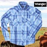 ラングラー ピックステッチ ウエスタンシャツ(ブループラッド・長袖)/Wrangler Long Sleeve Western Shirt(Blue Plaid)
