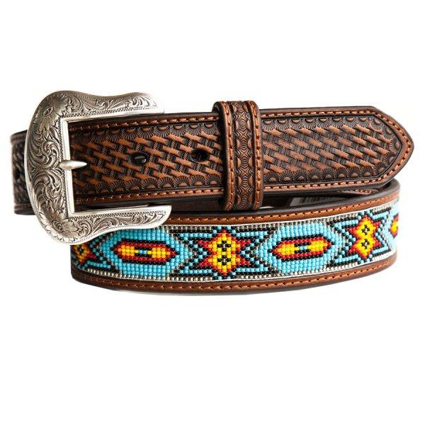 画像1: ビーズ ウエスタン レザーベルト(ブラウン・ターコイズ)/Western Leather Belt(Brown/Turq)