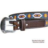 ビーズ ウエスタン レザーベルト(ブラウン・ホワイト)/Western Leather Belt(Brown/White)