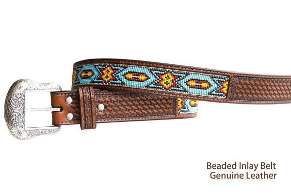 画像2: ビーズ ウエスタン レザーベルト(ブラウン・ターコイズ)/Western Leather Belt(Brown/Turq)