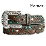 アリアット クラフト・ラインストーン レザーベルト(ブラウン・ターコイズ)/Ariat Western Leather Belt(Brown/Turquoise)