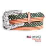 アメリカンフラッグ ラインストーン レザーベルト/American Flag Leather Belt