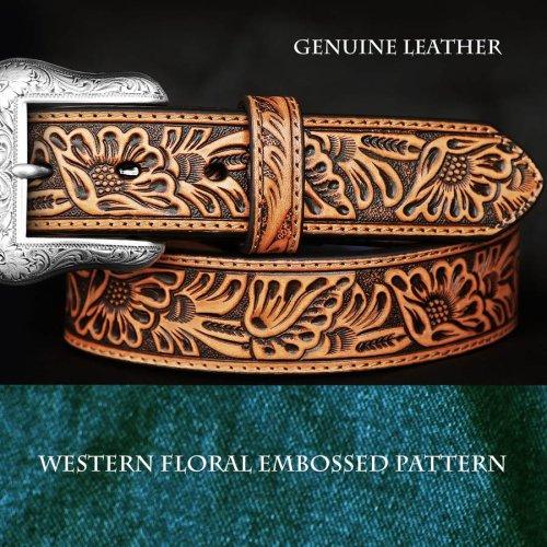 画像クリックで大きく確認できます Click↓1: ウエスタン フローラル レザーベルト(タン)/Western Floral Embossed Leather Belt(Tan)