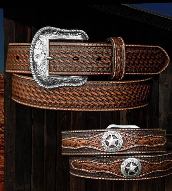 画像2: ウエスタン スター レザーベルト(ブラウン)/Western Leather Belt(Brown)