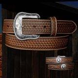 ウエスタン スター レザーベルト(ブラウン)/Western Leather Belt(Brown)