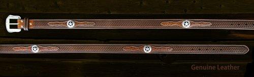 画像クリックで大きく確認できます Click↓2: ウエスタン スター レザーベルト(ブラウン)/Western Leather Belt(Brown)