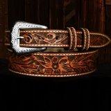 フローラル テーパード ウエスタン レザーベルト(ブラウン)/Western Leather Belt(Brown)