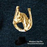 ウエスタン ハット ピン(ホースシュー&ホース ゴールド)/Hat Pin
