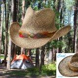 カウボーイ ストローハット(ナチュラル・ブラウン)/Western Straw Hat