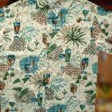 ハワイアンシャツ トロピカル カフェタイム サイズL(身幅64cm)/Hawaiian Shirt