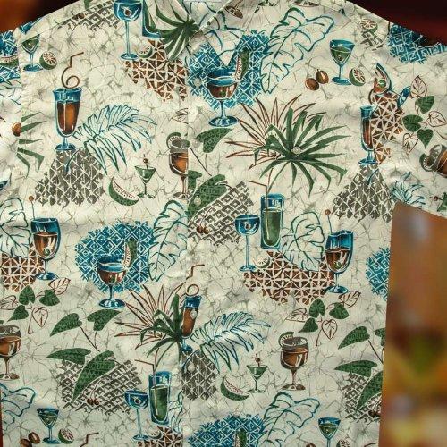 画像クリックで大きく確認できます Click↓1: ハワイアンシャツ トロピカル カフェタイム サイズL(身幅64cm)/Hawaiian Shirt