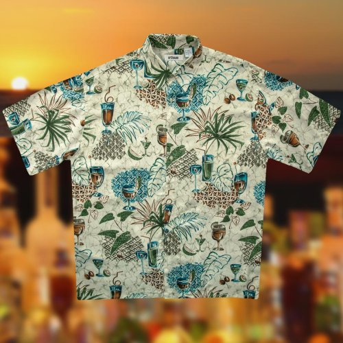 画像クリックで大きく確認できます Click↓3: ハワイアンシャツ トロピカル カフェタイム サイズL(身幅64cm)/Hawaiian Shirt
