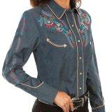 スカリー 刺繍 ウエスタン シャツ(長袖/デニム・フェザー&フラワー)/Scully Long Sleeve Western Shirt(Women's)