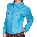 スカリー ウイップステッチ ウエスタン シャツ(長袖/ターコイズ)M/Scully Long Sleeve Western Shirt(Women's)