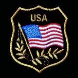 ワッペン USA 星条旗 ブラック・ゴールド/Patch
