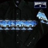 パンハンドルスリム ボーダー ウエスタンシャツ(長袖・ブラック ブルー)XL=身幅65cm/Panhandle Slim Long Sleeve Western Shirt