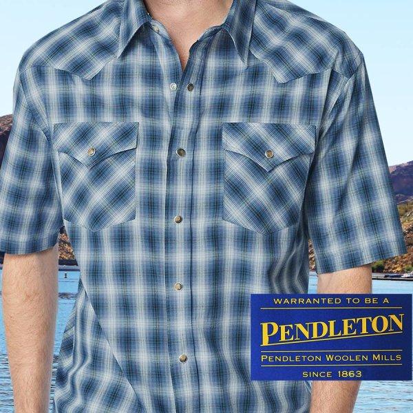 画像1: ペンドルトン 半袖 ウエスタン シャツ ブルー・ホワイトS/Pendleton Shortsleeve Western Shirt
