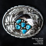 ナバホ シルバー&ターコイズ ベアクロウ ベルト バックル/Navajo Sterling Silver Turquoise Belt Buckle