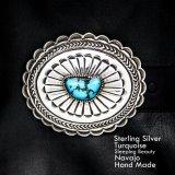 ナバホ シルバー& スリーピングビューティーターコイズ ハンドメイド ベルト バックル/Navajo Handmade Belt Buckle
