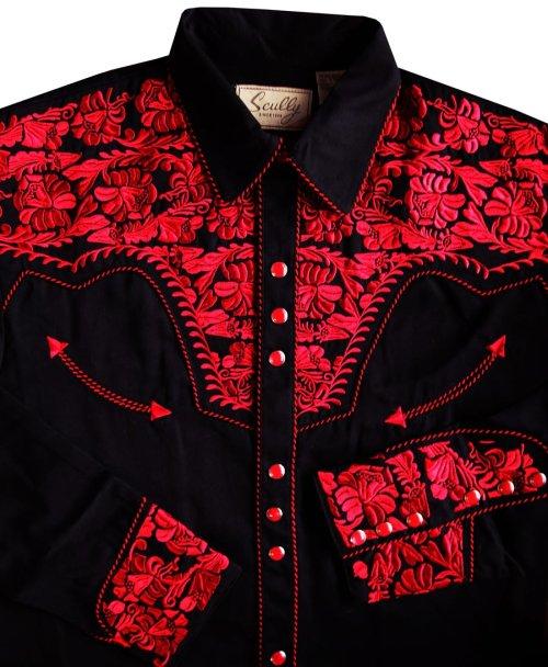 画像クリックで大きく確認できます Click↓2: スカリー ウエスタン 刺繍シャツ(長袖/ブラック・クリムゾン)/Scully Long Sleeve Embroidered Western Shirt(Men's)