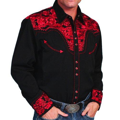 画像クリックで大きく確認できます Click↓1: スカリー ウエスタン 刺繍シャツ(長袖/ブラック・クリムゾン)/Scully Long Sleeve Embroidered Western Shirt(Men's)