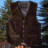 スカリー スナップフロント カーフスエード ベスト(ブラウン)/Scully Calf Suede Leather Vest(Brown)