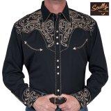 スカリー ウエスタン 刺繍 シャツ(長袖/ブラック・スクロールゴールド)/Scully Long Sleeve Embroidered Western Shirt(Men's)