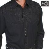 スカリー ブラック&ブラック刺繍 ウエスタン シャツ(長袖/ブラック)/Scully Long Sleeve Embroidered Western Shirt(Men's)