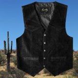 スカリー スナップフロント カーフスエード ベスト(ブラック)/Scully Calf Suede Leather Vest(Black)