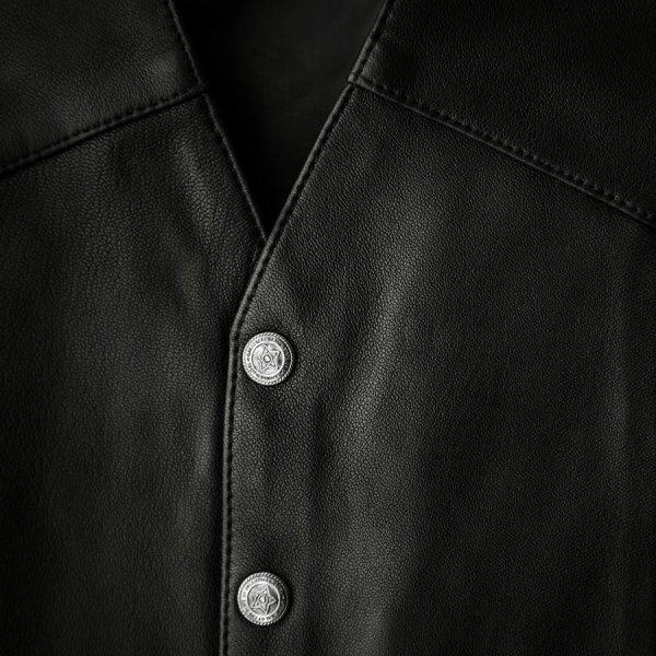 画像2: スカリー スナップフロント ラムレザー ベスト(ブラック)/Scully Lamb Leather Vest(Black)