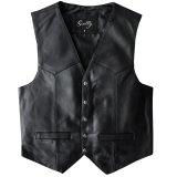 スカリー スナップフロント ラムレザー ベスト(ブラック)/Scully Lamb Leather Vest(Black)