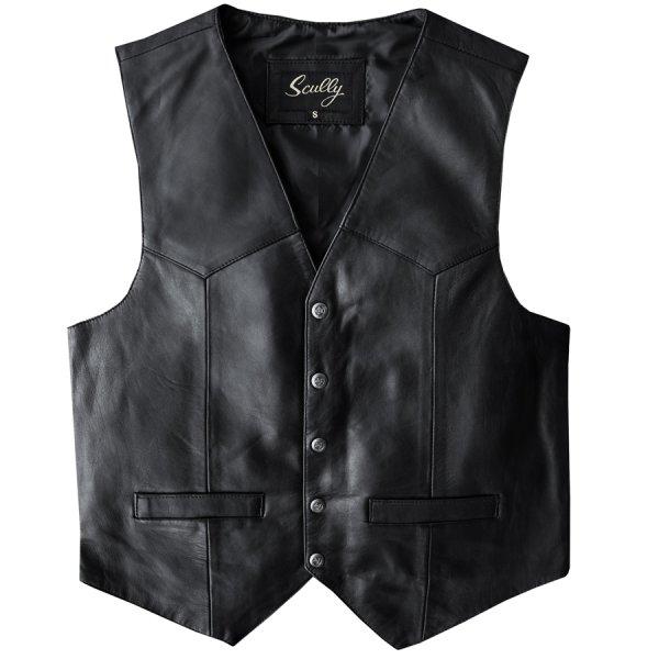 画像1: スカリー スナップフロント ラムレザー ベスト(ブラック)/Scully Lamb Leather Vest(Black)