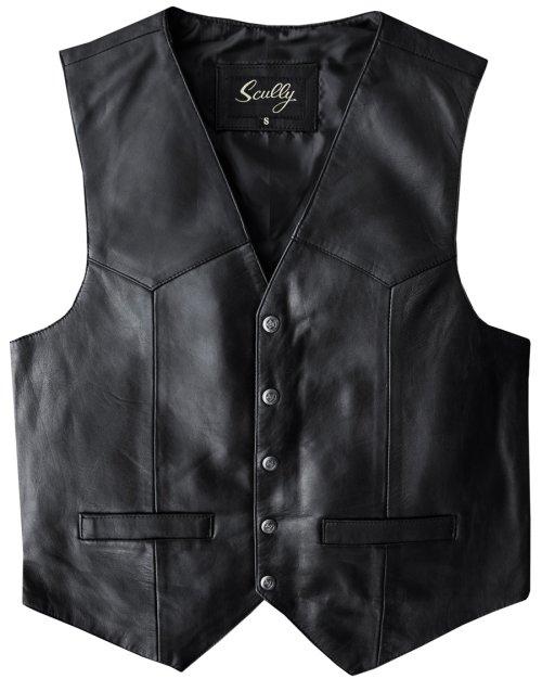 画像クリックで大きく確認できます Click↓1: スカリー スナップフロント ラムレザー ベスト(ブラック)/Scully Lamb Leather Vest(Black)