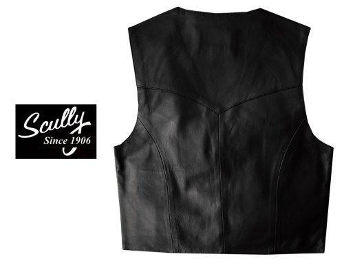画像クリックで大きく確認できます Click↓3: スカリー スナップフロント ラムレザー ベスト(ブラック)/Scully Lamb Leather Vest(Black)