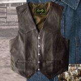 スカリー スナップフロント ラムレザー ベスト(ブラウン)/Scully Lamb Leather Vest(Brown)