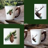 鹿の角 エルク&パインコーン マグカップ(2個セット)/Elk&Pinecone Mug Cup(Set of Two)