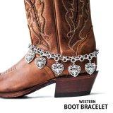 ブーツ ブレスレット ラインストーンハート シルバー ダブルチェーン/Boot Bracelet